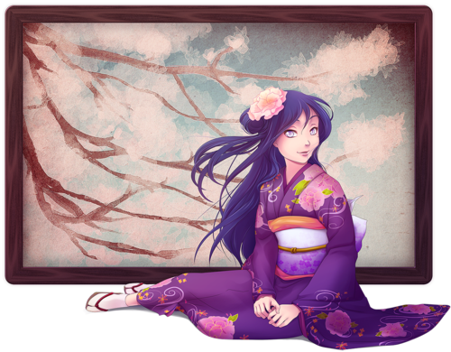 msyugioh123 wallpaper possibly containing a kimono and a bouquet called kimono anime girl