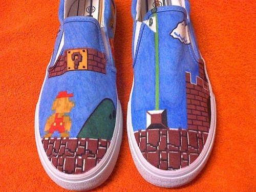 mario brothers hand painted shpes