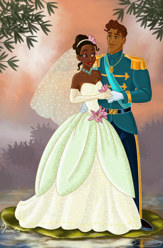 The Princess and the Frog wallpaper probably containing a polonaise, a bridesmaid, and a bouquet entitled the princess and the frog