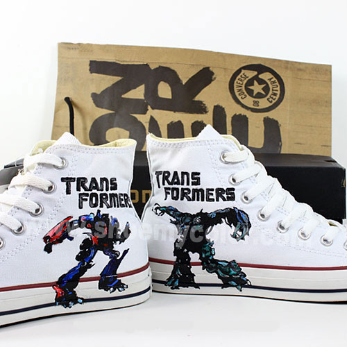 Transformers karatasi la kupamba ukuta possibly with a sign entitled Transformers hand painted casual shoes