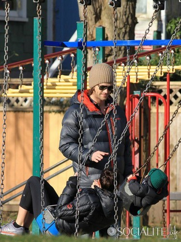 Jared Padalecki & Genevieve Cortese wallpaper with a swing titled  Jared and his little Family
