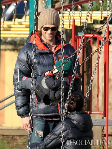 Jared Padalecki & Genevieve Cortese वॉलपेपर containing a झूला, स्विंग titled Jared and his little Family