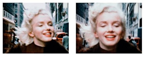 the blond bombshell outside Manhattan's Gladstone Hotel