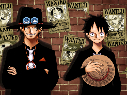 One Piece wallpaper possibly with a business suit entitled Ace & Luffy