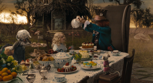 Alice in Wonderland (2010) wallpaper containing a dinner table, a dinner, and a holiday dinner called Alice in Wonderland (2010)