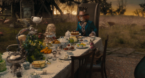 Alice in Wonderland (2010) wallpaper containing a dinner table entitled Alice in Wonderland