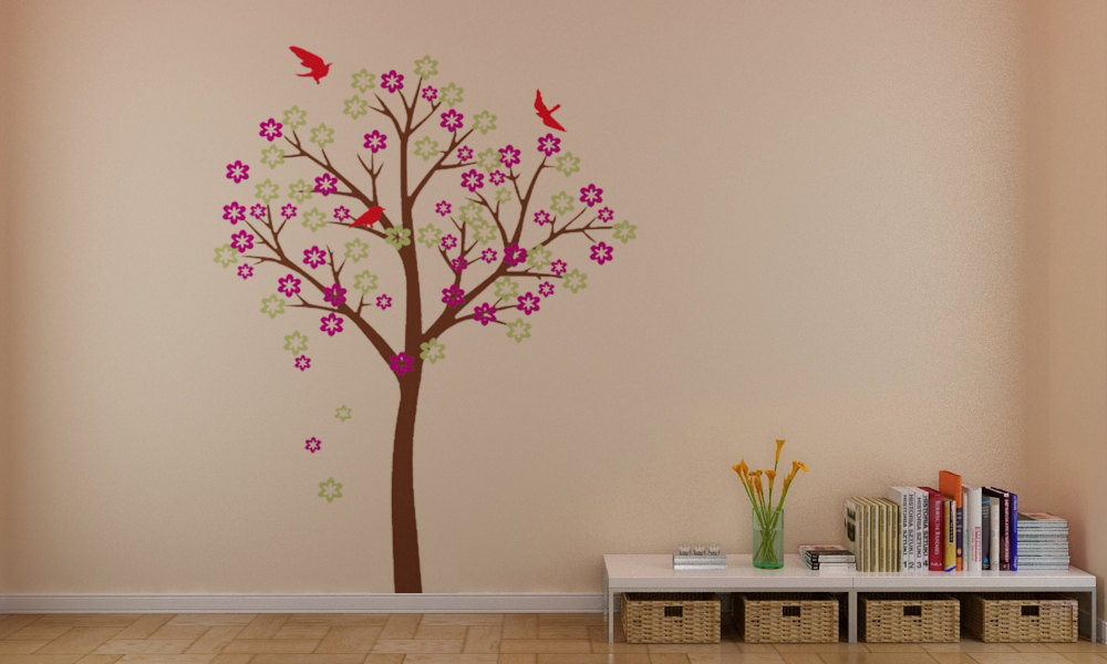 Home decorating images beautiful cherry blossom tree with for Wallpaper on walls home decor furnishings