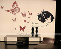 Beautiful Lady with Butterfly Wall Stickers - home-decorating photo
