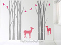Birch Tree Forest With Deer and Birds Wall Stickers - home-decorating photo