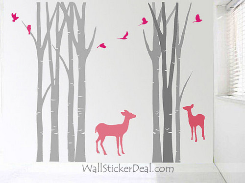 Birch arbre Forest With Deer and Birds mur Stickers