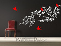Birds and Cherry Blossom Branches Wall Stickers - home-decorating photo