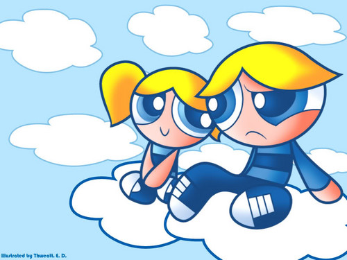 Boomer and Bubbles in the clouds
