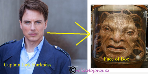 Doctor Who karatasi la kupamba ukuta possibly with a portrait entitled Captain Jack Harkness to Face of Boe