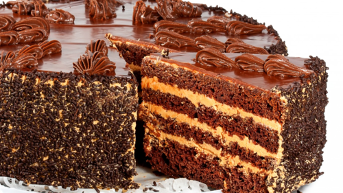 Chocolate wallpaper with a frosted layer cake, a brittle, and a chocolate fudge titled Chocolate Cake
