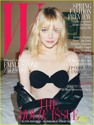 Emma Stone Bares Bra for 'W' Magazine's Movie Issue Cover