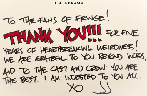 Fringe - A thank 你 message from J.J. Abrams