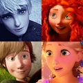 Jack, Rapunzel, Hiccup, and Merida