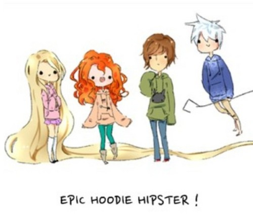 The Big Four 壁紙 with アニメ entitled Jack, Rapunzel, Merida and Hiccup