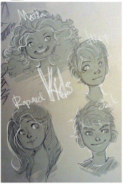 The Big Four 壁紙 possibly with a sign and アニメ called Jack, Rapunzel, Merida and Hiccup