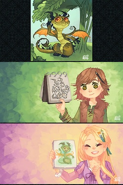The Big Four 壁紙 with アニメ entitled Jack, Rapunzel, Merida, and Hiccup