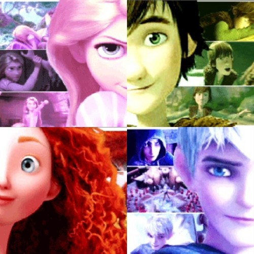 The Big Four 壁紙 containing a portrait entitled Jack, Rapunzel, Merida, and Hiccup