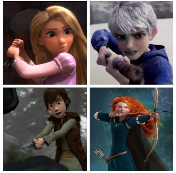Jack, Rapunzel, Merida, and Hiccup