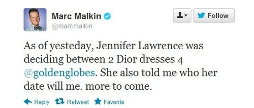 Jennifer Lawrence deciding between 2 Dior dresses for Golden Globes