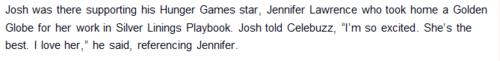 Josh, when asked about Jennifer winning a Golden Globe