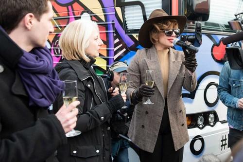 Lady Gaga visits the 'Born 《勇敢传说》 Bus' in Tacoma, USA