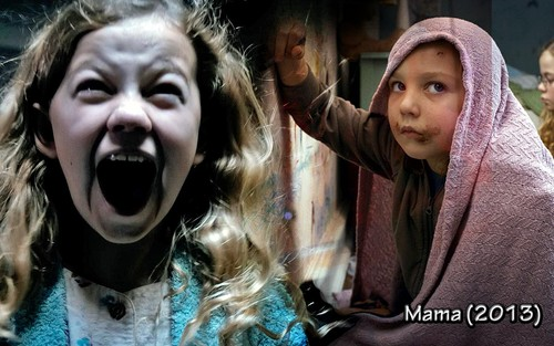 Horrorfilme Hintergrund possibly with a haube and a portrait entitled Mama 2013