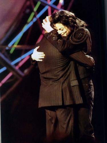 Michael Hugging Good Friend/Mentor, Berry Gordy