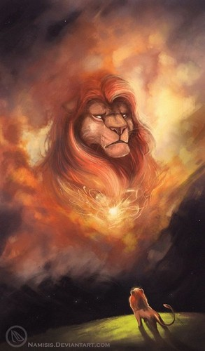 The Lion King wallpaper possibly containing a fire, a sunset, and anime called Mufasa
