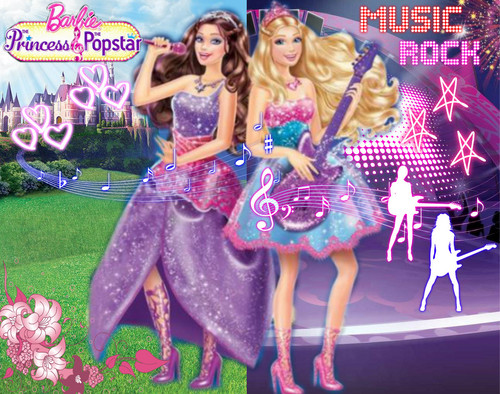 Filem Barbie kertas dinding called Princess and Popstar