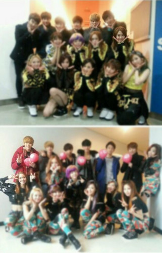 SNSD group photo with EXO-K and EXO-M