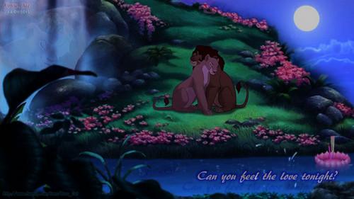 Simba Nala full moon romantic night l'amour
