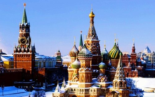 Russia achtergrond with a kremlin titled St. Basil's Cathedral