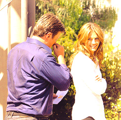 Nathan Fillion & Stana Katic wallpaper possibly containing a business suit called StaNathan<3