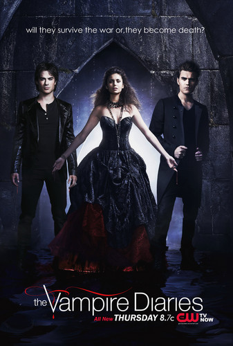 The Vampire Diaries wallpaper containing a cena dress and a toga, abito entitled TVD:IV survive o Die Promo Poster
