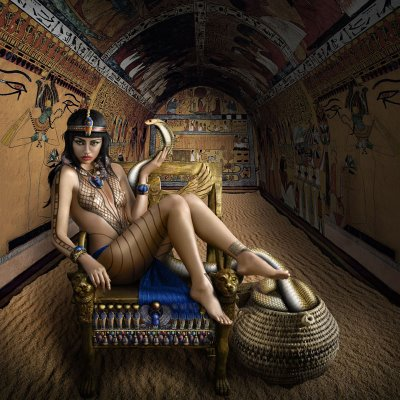 Women in History wallpaper with a throne and a drawing room titled The Regal Twelve - Cleopatra