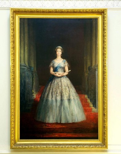 Queen Elizabeth II wallpaper possibly containing a hoopskirt, a polonaise, and a crinoline entitled This portrait of Queen Elizabeth II, which was hidden for years