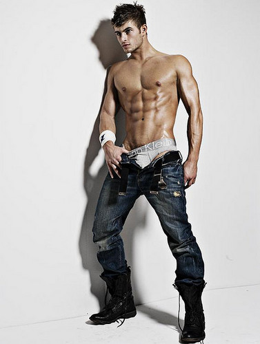 Male Models wallpaper possibly containing a jean, bellbottom trousers, and a hunk entitled Tyler Bachtel.