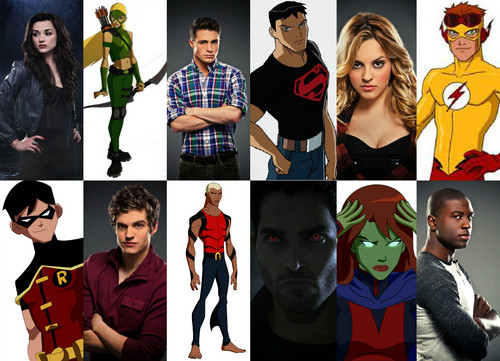 Young Justice wallpaper possibly containing an outerwear and a well dressed person titled YJ Vs TW licantropi Vs Sidekicks Crossover