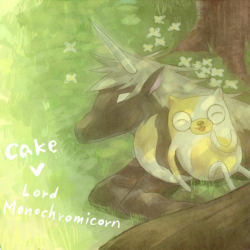 Adventure Time With Finn and Jake wallpaper called cake and lord monochromicorn