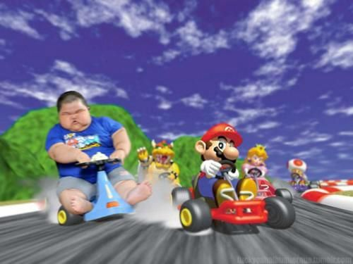 mario and a random fat kid