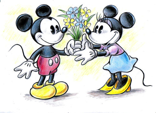 Mickey and Minnie wallpaper probably containing anime called mickey and minnie