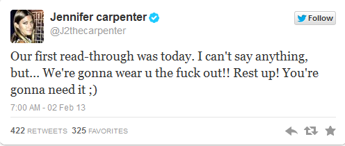 Jennifer Carpenter's reaction to first S8 read-through