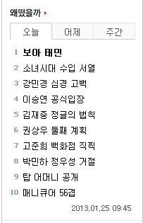 130125 'BoA Taemin' ranked #1 in Nate paghahanap and hot topic