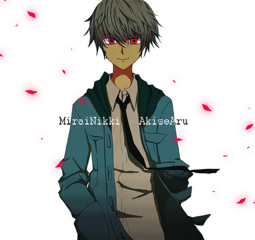 mirai nikki karatasi la kupamba ukuta possibly with a well dressed person titled Akise Aru