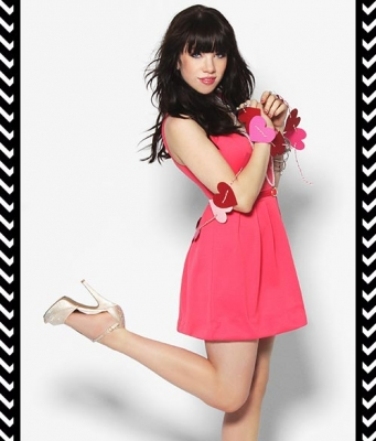 Carly Rae Jepsen wallpaper possibly containing bare legs, hosiery, and a koktil, koktail dress entitled Carly Rae Candie's Campaign