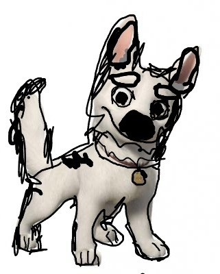 Cartoon looking animatie bolty the superdog